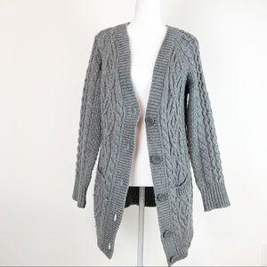 Zara women cable knit long cardigan size M
